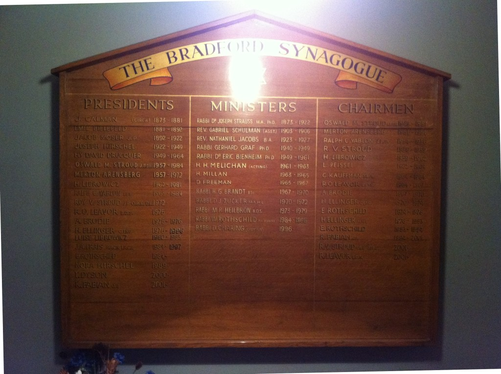 Presidents, Ministers & Chairmen of the Bradford Synagogue