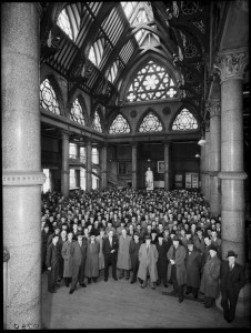The Stars of David above the wool traders  inside Wool Exchange during the 1950's.