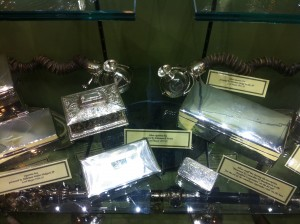 Silver and antlerhorn cigar lighters inside City Hall, part of the Moser Collection