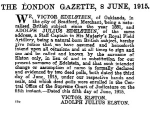 Edelstein becomes Elston: London Gazette June 1915