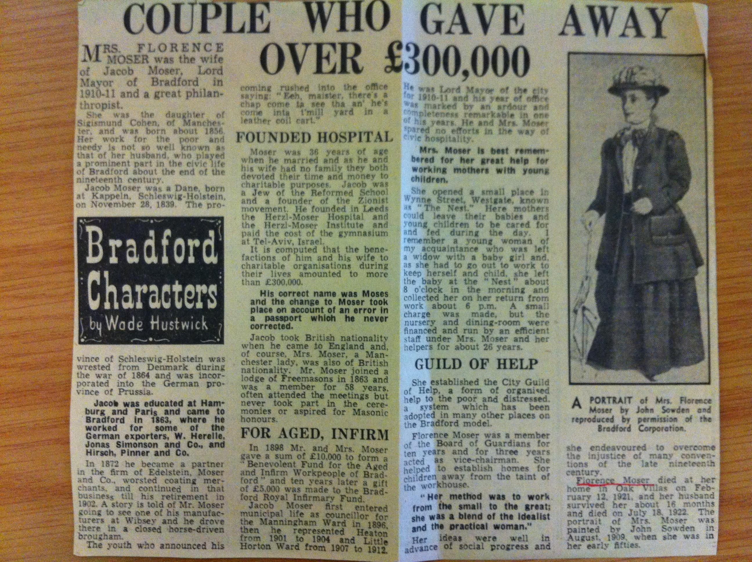 Florence Moser Telegraph & Argus July 2nd 1960 article in full