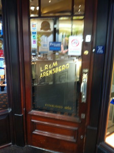 Door of Arensbergs Jewellers, Ivegate, Bradford.
