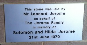 Foundation plaque at the former Orthodox Synagogue in Shipley, relating to the Jerome family, for a stone laid by Leonard Jerome, 21st June 1970