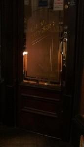 The door of Herbert Browns Jewellers on Ivegate, Bradford, showing the orginal signage of L.R & M Arensberg established 1860