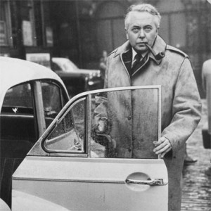 Former Prime Minister Harold Wilson wearing his  famous Gannex Mac.