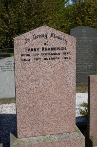Grave stone of Fanny Kramrisch