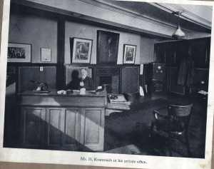 Harry Kramrisch at work in his office in Bradford.