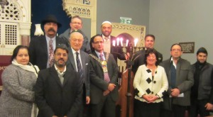 Rudi Leavor - Chairman of the Bradford Synagogue, The Lord Mayor of Bradford - Councillor Khadim Hussain, Baroness Margaret Eaton, Councillor Ralph Berry together with Members of the Muslim and Hindu Communities in Bradford.