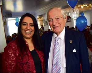 Naz Shah MP with Rudi Leavor on his 90th